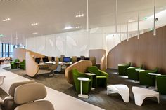 Brandimage and Noé Duchaufour- Lawrance have designed the new Air France business lounge at Paris-Charles de Gaulle airport. This lounge has been conceived as a harmonious pathway, consisting of sections which are con. Lounge Design, Lounge Decor, Air France, Lounges, Sala Vip, Airport Design, Airport Lounge, Gaulle, Hunter Douglas