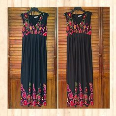 Black & Floral Maxi Dress Offer $3 less than list price to split shipping fee! Beautiful maxi dress with black base, floral design on top and bottom, wide straps, padded bust, and V-neckline. Re-Posh as it is too big for me. Marked size M but I would say it's a large (size 12-14) Great pre-loved condition! ⭐️⭐️⭐️⭐️ It is the BUYER'S responsibility to ensure an item will fit.  ✅ASK QUESTIONS ✅Bundle ✅Offers ❌NO Trades ❌NO Off-Site Transactions Dily Dresses Maxi