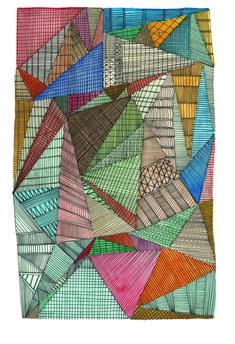 """NIGEL PEAKE - The Field (Summer), 2009-10, 9"""" x 11"""" (Framed), Ink and watercolour on paper http://www.nigelpeake.com/menu.html"""