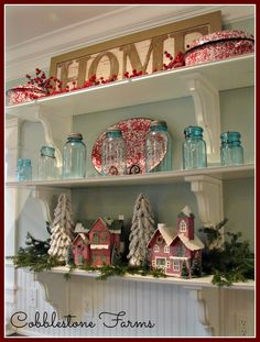 Cobblestone Farms: My Christmas Kitchen. Christmas Decorations, Holiday Decor, Christmas Ideas, Christmas Crafts, Easter This Year, Easter Table Settings, Greenhouse Growing, Easter Season, Cottage Kitchens