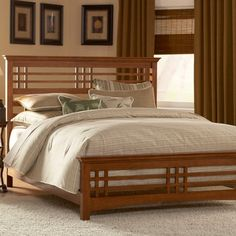 mission style decorating | Avery Mission Style Oak Finish Bed Full, Queen or King - Furniture ...