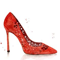 JIMMY CHOO Romy 100 Red Perforated Suede With Crystal Hotfix Detailing Pointy Toe Pumps. #jimmychoo #shoes #s