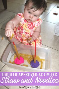 Toddler Approved Activites- Straw and noodles- Fine motor skill activity for toddlers and one year olds. # indoor activities for one year olds Indoor Toddler Activities for Months - Little Learning Club Activities For One Year Olds, Indoor Activities For Toddlers, Toddler Learning Activities, Montessori Toddler, Baby Learning, Montessori Activities, Infant Activities, Baby Activites, 18 Month Old Activities