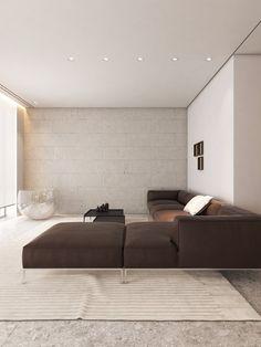 Saint Tabris apartment by SPRW Architects - MyHouseIdea Minimalist Living Room Furniture, Zen Living Rooms, Living Room Interior, Living Room Designs, Modern Living, Modern House Design, Modern Interior Design, Minimalist Interior, Minimalist Decor