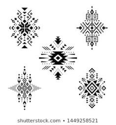 Aztec elements vector image on VectorStock Native American Patterns, Native American Design, Cow Skull, Skull Art, Navajo Tattoo, Tribal Tattoos, Motif Design, Pattern Design, Geometric Symbols