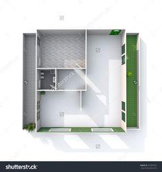 3d interior rendering of empty architectural paper model home apartment: room, bathroom, bedroom, kitchen, living-room, hall, entrance, door, window, balcony