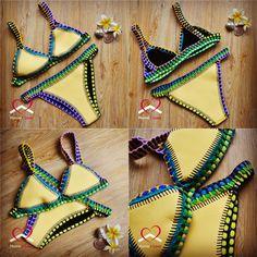 Sexy High Quality Crochet&Neoprene Bikini Handmade Style Size S AU Stock Bikini Swimwear, Swimsuits, Bikinis, Store, Crochet, Beach, Sexy, Summer, Handmade
