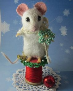 "Needle Felted Christmas Winter White Mouse ""Vanilla"" by Artist Robin J Andreae 