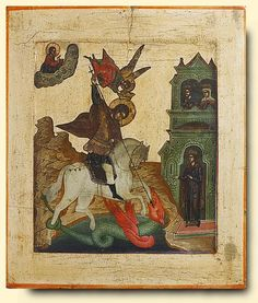 ru~~Saint George and the Dragon - exhibited at the Temple Gallery, specialists in Russian icons Religious Images, Religious Icons, Religious Art, Byzantine Icons, Byzantine Art, Medieval Art, Renaissance Art, Art Tablet, Saint George And The Dragon