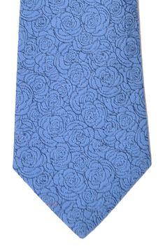 Turnbull & Asser Tie Navy Blue White Outlined Roses