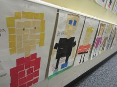 "Fraction review  ""The kids made self portrait mosaics and then found the perimeter, area, and fractions that would make their art piece a ""Math Mosaic."""