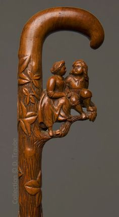 200 year old carved wood walking stick - in the Valentines Collection of Daniel Traube, an antique expert in Brussels, Belgium