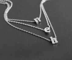 Layering Letter Necklace Floating Initials Two by PinkChemistry