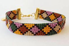 Miyuki bracelet beads bracelet loom beaded bracelet I needed showing you steps to make a bracelet with natural stone and … Bead Loom Patterns, Beaded Jewelry Patterns, Beading Patterns, Stitch Patterns, Chevron Friendship Bracelets, Homemade Bracelets, Motifs Perler, Bead Loom Bracelets, Macrame Bracelets
