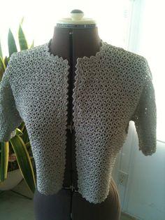Modern VTG Mid Century Silver Crocheted Short Jacket by ModernVTG