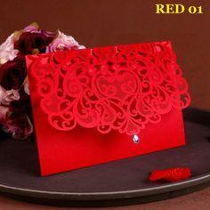 NEW Vintage Wedding Supplies China Laser Cut Luxurious Wedding Invitations Red Elegant Wedding Invitation Paper Cards 50pcs