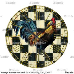 Vintage Rooster on Check Large Clock