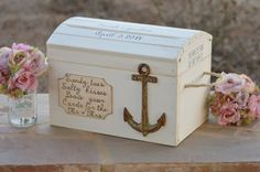 beach wedding card box, nautical card box, seashore wedding decor, personalized coordinates on Etsy, $135.00