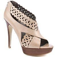 Beige Cutout Leather Wooden Platform Sandals