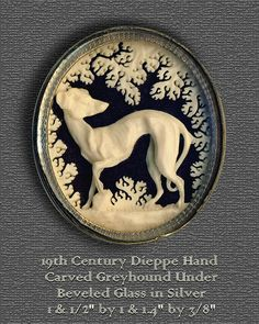 Brooch Fine 19th C Silver Dieppe Hand Carved Greyhound or Whippet Under Glass ~ R C Larner Buttons at eBay & Etsy        http://stores.ebay.com/RC-LARNER-BUTTONS