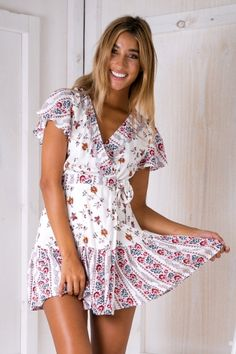 Tess Wrap Dress - White/Red $59.95