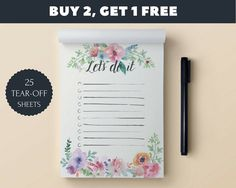 To do list Notepad A6 Floral to do list To do list by SimplePlanCo