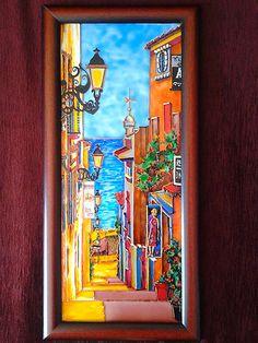 Улочки Испании. Роспись по стеклу витражными красками.