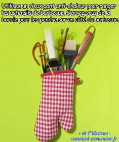 la memorizzazione di utensili da barbecue in un guanto resistente al calore