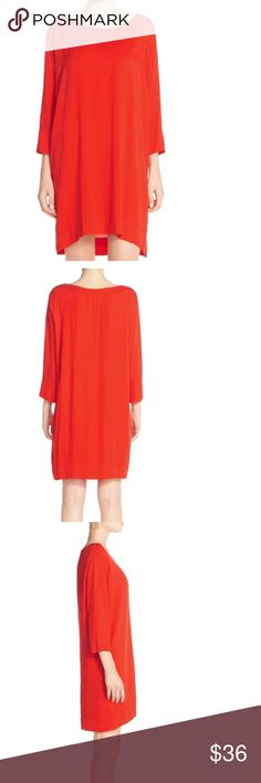 """BB Dakota Kiara Red Shift Dress Large A raw-edge, scooped neckline and cuffed three-quarter sleeves style a minimal shift dress perfect for dressing up or down. - Scooped neck - 3/4 length sleeves - Slips on over head - Hi-lo hem - Approx. 32.5"""" length - Imported Fiber Content 100% rayon BB Dakota Dresses Mini"""