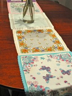 10 Adorable DIY Ideas for Vintage Hankies-I made one of these with my mom's hankies and use it during valentines, so sweet...