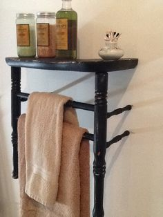 Part of an old chair we cut down to make towel rack and shelf Furniture Fix, Refurbished Furniture, Repurposed Furniture, Furniture Makeover, Painted Furniture, Chair Parts, Ladder Back Chairs, Old Chairs, Repurposed Items