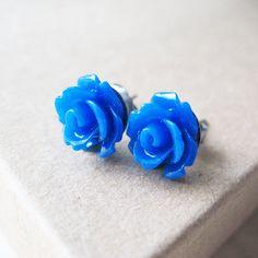 Etsy cobalt blue rose flower earrings