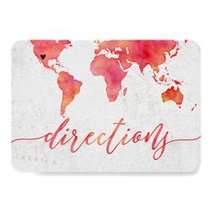 Watercolor World Map Destination Wedding Direction Card