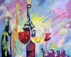 DIY Painting kit Paint and Sip Colorful Wine Bottles Cross Paintings, Animal Paintings, Monet, Peacock Pictures, Diamond Drawing, Paint By Number Kits, Paint And Sip, Prom Night, Wrap