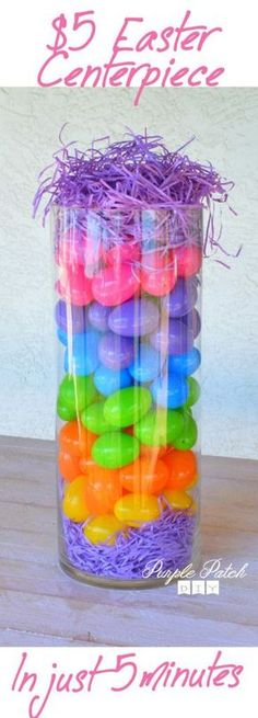 Make this beautiful #Easter centerpiece in just 5 minutes for just 5 dollars!