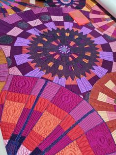 """Bricks n Gears"" by Claudia Pfeil - Detail 2 Circle Quilts, Strip Quilts, Scrappy Quilts, Longarm Quilting, Free Motion Quilting, Machine Quilting, Applique Designs, Quilting Designs, Quilt Inspiration"