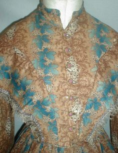 """Graceful 1860's Brown Blue Challis Print Dress 