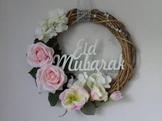Check out this item in my Etsy shop https://www.etsy.com/listing/533601436/natural-wicker-wreath-with-eid-mubarak