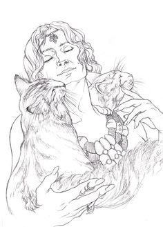 Freyja lineart by Toradh @ deviantart Witch Coloring Pages, Coloring Pages For Grown Ups, Cat Coloring Page, Adult Coloring Pages, Coloring Books, Wicca, Thor, Freya, Norse Goddess