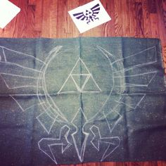Make your own burlap banner. Drawn in chalk color in with paint. Legend of Zelda Birthday Party