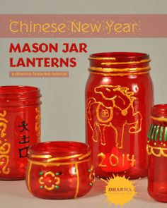 Chinese New Year Mason Jar Lanterns- A Dharma Tutorial with Piñata Paints and Lumiere 3D Paints