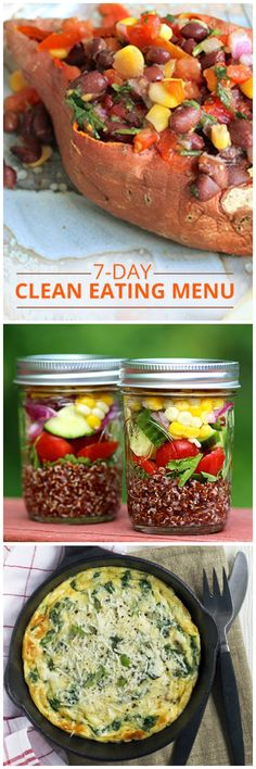 Our 7 Day Clean Eating Menu is ideal for jump starting a healthy eating plan!  #7daycleaneatingmenu #cleaneatingmenu #cleaneatingmealplan