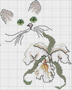 orchidée - grille (voir fils et ouvrage brodé)