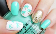 seafoam green and palm trees