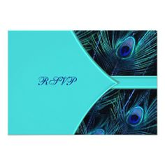 Royal Teal Blue Peacock  Wedding RSVP Personalised Invite