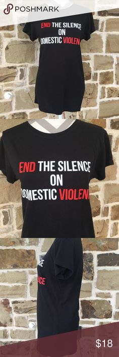 """End the Silence black tee No signs of wear.  """"End the silence on domestic violence"""" black t-shirt.  100% cotton. Tops Tees - Short Sleeve"""