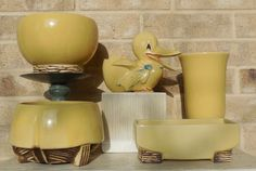 Yellow McCoy pottery.