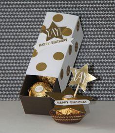 Creations by Jolan: Stampin'Up Confetti Celebration Yay! Happy Birthday 3 Ferrero Rocher tjokolaatjes