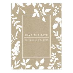 #savethedate #postcards - #White Botanical Leaves Simple Rustic Save the Date Postcard