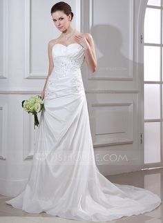 Wedding Dresses - $186.99 - Mermaid Sweetheart Court Train Taffeta Wedding Dress With Ruffle Lace Beadwork (002012668) http://jjshouse.com/Mermaid-Sweetheart-Court-Train-Taffeta-Wedding-Dress-With-Ruffle-Lace-Beadwork-002012668-g12668?ver=1